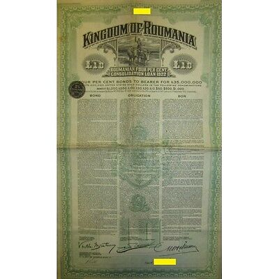 1922 Kingdom of Roumania £10 with 4% Consolidation Loan - Gold bond