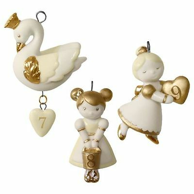 Hallmark 2016  12 Little Days of Christmas 7-9 Porcelain Miniature Ornaments