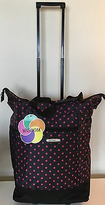 "20""Black W/Pink Polka Dot Wheeled Rolling Shopping Tote Bag wRetractable Handle"