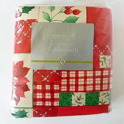 New Home Trends Oblong Tablecloth Vinyl Holly Garden Christmas Holiday Red Green