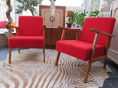 Vintage Red East German / Danish Style Cocktail Lounge Armchairs C1965 Oc16-18