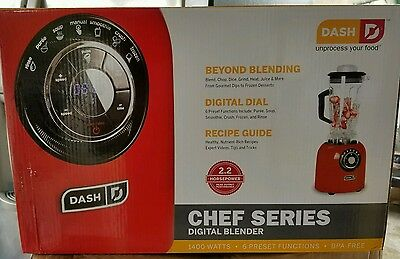 Dash Chef Series Digital Blender Red 1400W, 2.2 Horse Power Commercial Performan