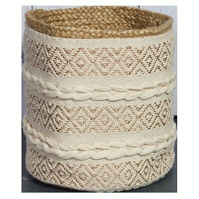 Boho Cotton Jute and Copper Basket Storage Handwoven Natural