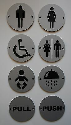 Circular Round Silver Toilets Pub Shop Business Bathroom Door Sign Notice Plate