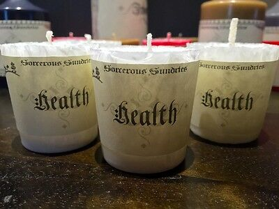 Health crystal type votive - pagan witchcraft goth wicca healing candle
