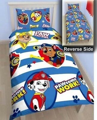 New Paw Patrol Rescue Boys Reversible Rotary Single Bed Duvet Quilt Cover Set