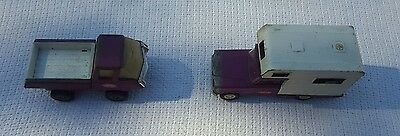Vintage 1960's Tonka Jeep Pressed Steel Purple Pickup Camper And Delivery Truck