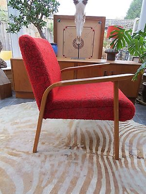 Vintage Red German / Danish Style Cocktail Lounge Arm Chair C1970 Oc16-22 • £260.00