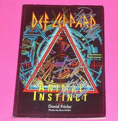 Def Leppard Rare Steve Clark And Band Autograph Signed Animal Instinct Book