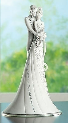 "9"" EMBRACE White Wedding CAKE TOPPER Gina Freehill Design Bride & Groom 63600"