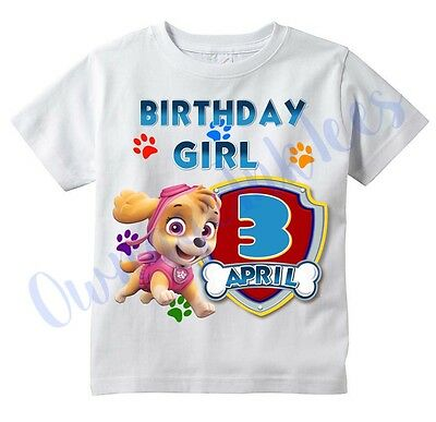 SKYE Paw Patrol BIRTHDAY GIRL CUSTOM t-shirt PERSONALIZE, CHOOSE AGE & NAME