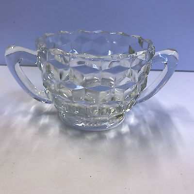 """Jeannette Cube Open Sugar Bowl with Two 2 Handles 2-1/2"""""""