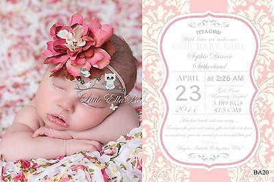 Personalised Birth/ Baby/ Thank you Announcement Printable Invitation card Girl