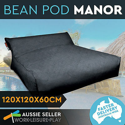 Beanbag Soft Bed Outdoor Indoor Movie Camping Waterproof Cover BeanPod Charcoal