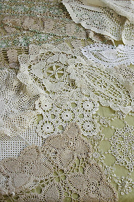 Lot  27 Vtg Doilies Crocheted Lace Colored Ecru White Table Runners Multi-shape