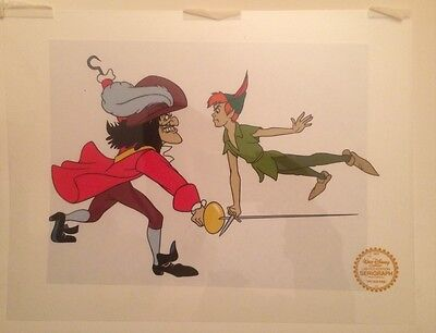 Peter Pan Captain Hook Limited Edition Serigraph Cel w/ CoA Disney Studio Seal