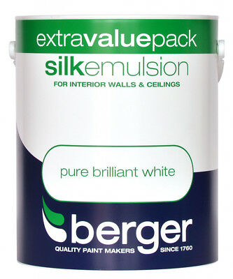 Berger Vinyl Silk 1L Pure Brilliant White Emulsion Paint for Walls & Ceilings