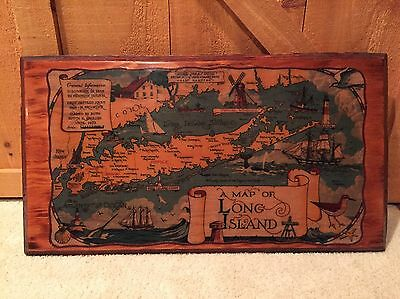 Vintage Large Wood Map LONG ISLAND New  York 1960s Unique
