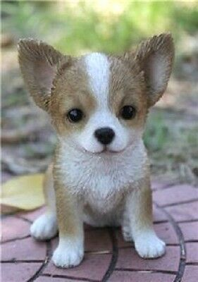 Chihuahua Brown White Puppy New Ntricately Detailed Realistic Figurine