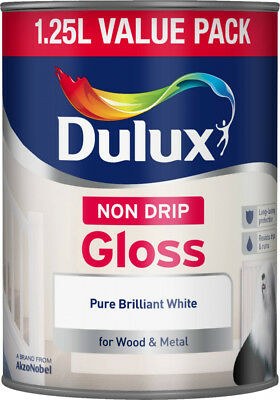Dulux Non Drip Gloss Paint - Pure Brilliant White - 1.25L - With Glossing Brush