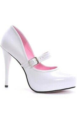 Adult Womens White Lady Jane High Heel Shoes Fancy Dress Costume Accessory