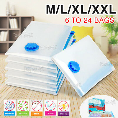 6 to 24 Vacuum Storage Bags Saver Seal Compressing Medium Large Jumbo Supersize