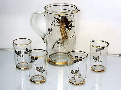 Vintage Mid 20's century 1950's 24 kt Gold PL Water Jug With 4 Matching Glasses