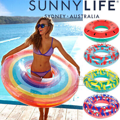 NEW SunnyLife Pool Ring Inflatable Float Summer Beach Swimming Accessory Lilo