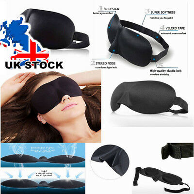 2X 3D Soft Padded Blindfold Blackout Eye Mask Travel Rest Sleep Aid Shade Cover