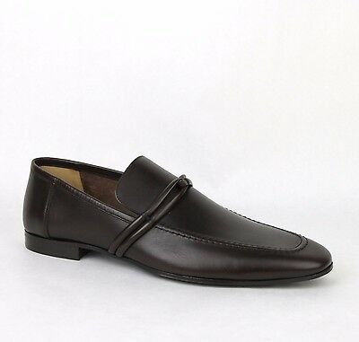 New Gucci Men's Cocoa Leather Loafer Shoes w/Strap Detail 121471 2140