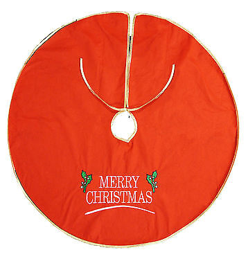 Large Christmas Xmas Tree Skirt Base Cover Decoration Red with Embroidery 90cm