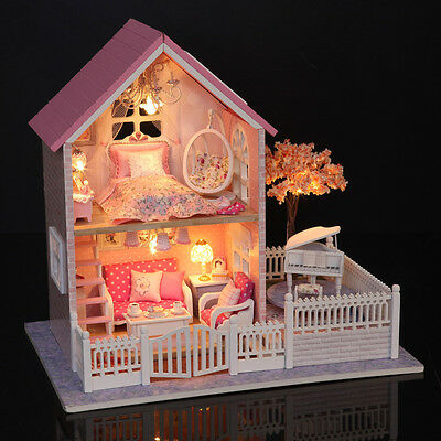 DIY Wooden Dolls house Miniature Kit w/ LED Light/Music Box All Furniture Pink