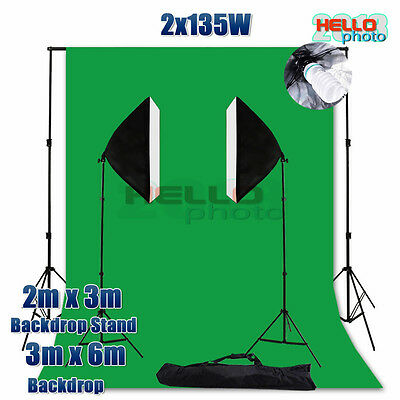 Photo Studio Softbox Soft Box Continuous Bulb Lighting Muslin Backdrop Stand Kit