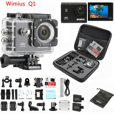 Wimius 4K 16MP HD Sports Action Camera wifi Waterproof Helmet Cam for Go pro bag