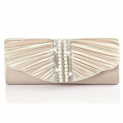 Emour Women Satin Pleated pearl Clutch Wedding Bag Bridal Prom Evening HandBag