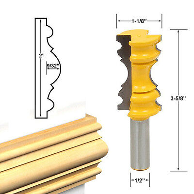"1/2"" Shank Large Elaborate Chair Rail Molding Router Bit For Woodworking New"