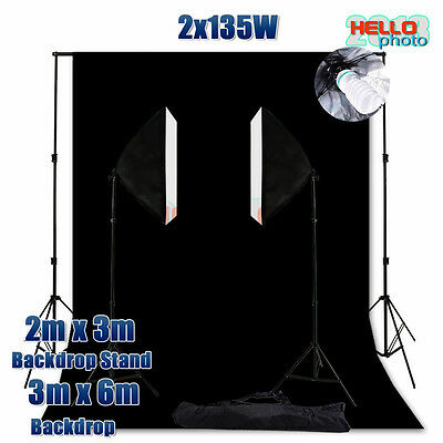 Photo Studio Softbox Soft Box Continuous Lighting Black Backdrop Light Stand Kit