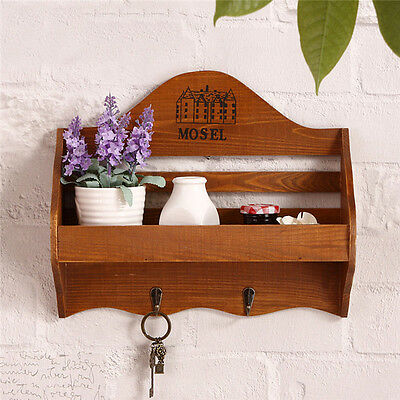 Vintage Wooden Mail Key Rack Holder Wall Mounted Hook Hanger Hallway Organizer