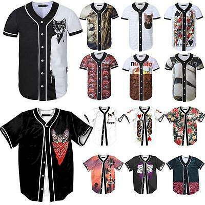 Baseball Jersey Button T Shirt  Men's Sports Casual Street Masked Cat Tops M-3XL