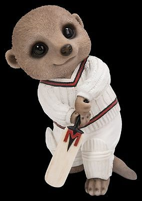 Brand New Cricketer Meerkat Garden Ornament