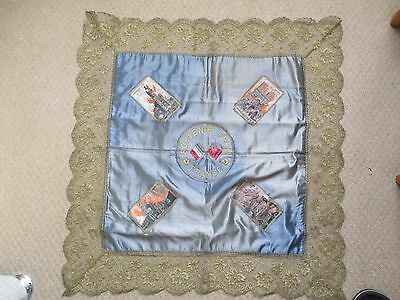 Ww1 Silk Tablecloth - Souvenir From France - Woven Silk Buildings In Flames