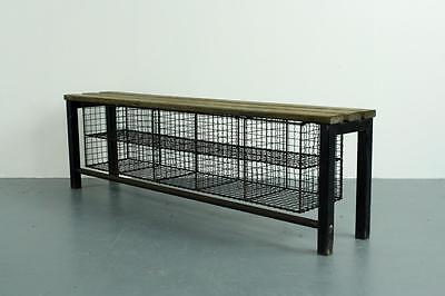 Vintage Industrial Wire Mesh And Wooden Shoe Rack Storage Shelving Unit #1837