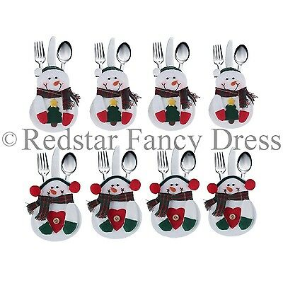 Snowman Christmas Cutlery Holders Decoration Silverware Kitchen Tableware