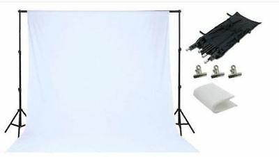 White Photo Studio Back Drop Background Photography Stand Set Kit NEW