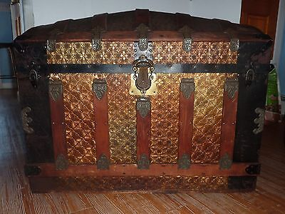 """Antique Dome Top Steamer Trunk 34""""Wide"""