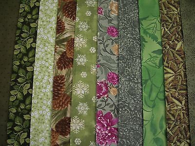 "10 Jelly Roll Strips Green 44"" X 2.5""  100% Cotton Patchwork/quilt Gre"
