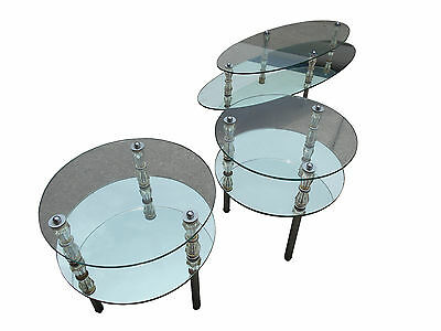 Goran Belgium vtg 3 piece mirror, glass, chrome & crystal coffee & end tables
