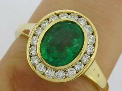R238 Genuine 750 18ct 18K Gold NATURAL Emerald Diamond Halo Engagement Ring