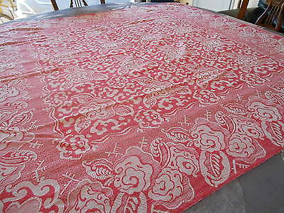Vintage French RED FLOWERS Cotton Linen Damask Tablecloth