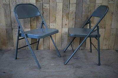 Retro Vintage Pair Of Metal Folding  Industrial Chic Chairs 5